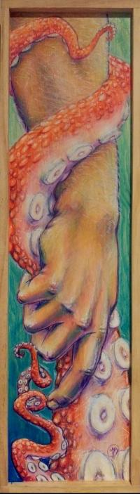 Alaskan artist Jamie Bottoms, Hand in Hand watercolor pencil painting
