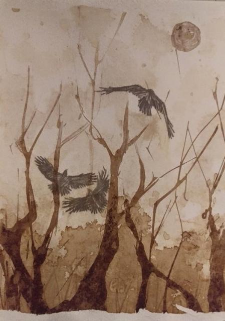 Alaskan artist Jamie Bottoms, Smoke & Ravens coffee and watercolor painting