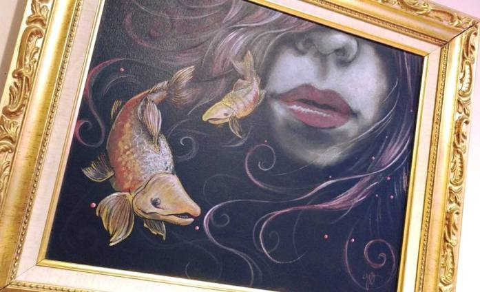 Alaskan Artist Jamie Bottoms , Fisherman's Dream painting with salmon