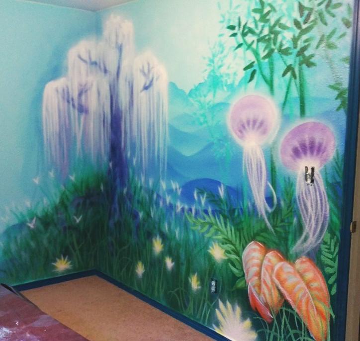 Alaskan artist Jamie Bottoms paints Avatar Dream wall mural for kids room